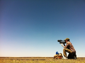 Zander filming on roadside 100km outside Addis Ababa